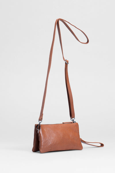 Triple City Leather Cross Body Bag Front TAN