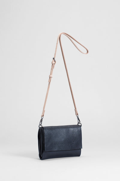 Madel Crossbody Leather Bag Front Angled BLACK / NATURAL