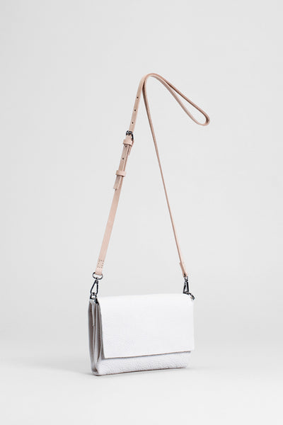 Madel Crossbody Leather Bag Front Angled BLANC / NATURAL