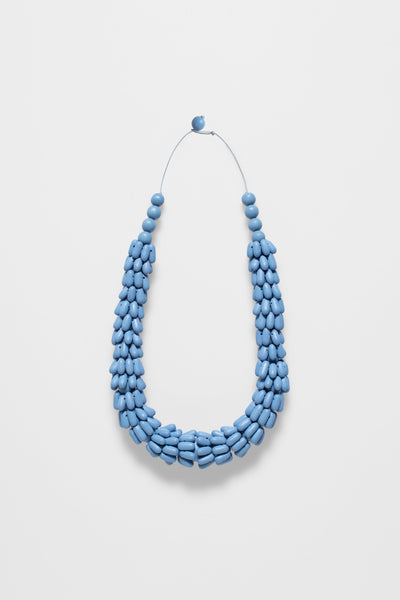 Iduna Statement Handmade Wood Necklace DENIM BLUE
