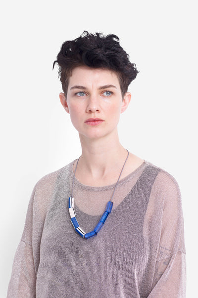 Taina Geometric Resin Beaded Necklace Model Front BRIGHT BLUE