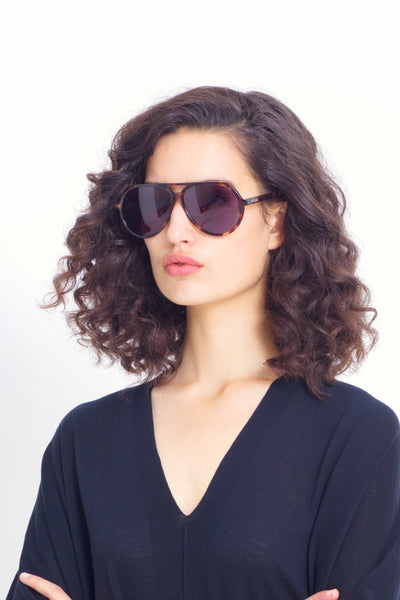 Orden Aviator Sunglasses Model Detailed Tortoise Shell