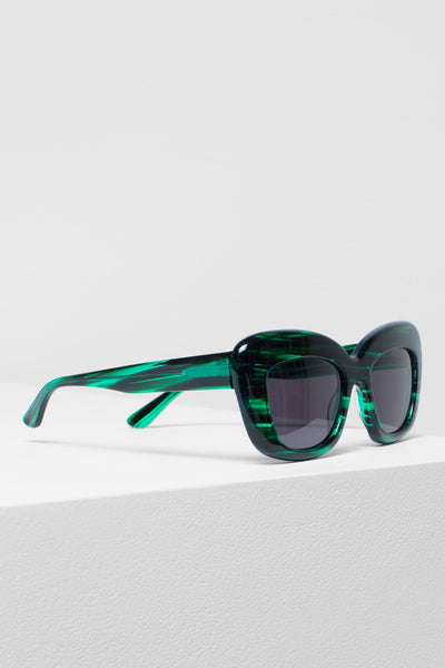 Kittan Exaggerated Cat-Eye Sunglasses Side Angled Emerald
