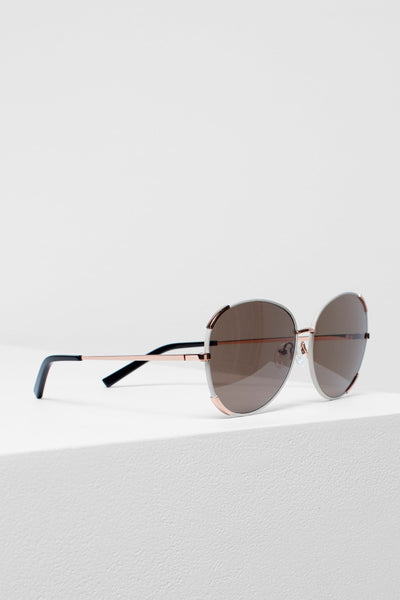Velta Aviator Sunglasses Side Angled | White & Rose Gold
