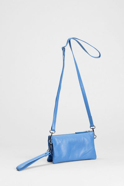 Triple City Leather Cross Body Bag Front LIGHT BLUE