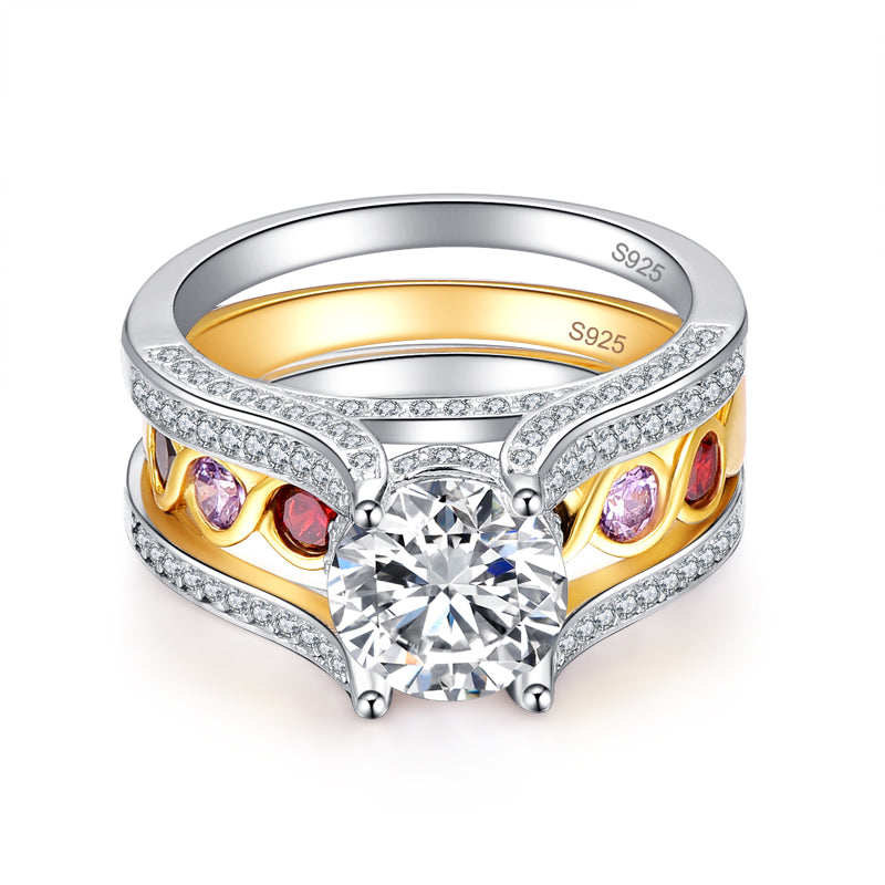 2 in 1 Infinity Amethyst Citrine Gold Plated Women Ring