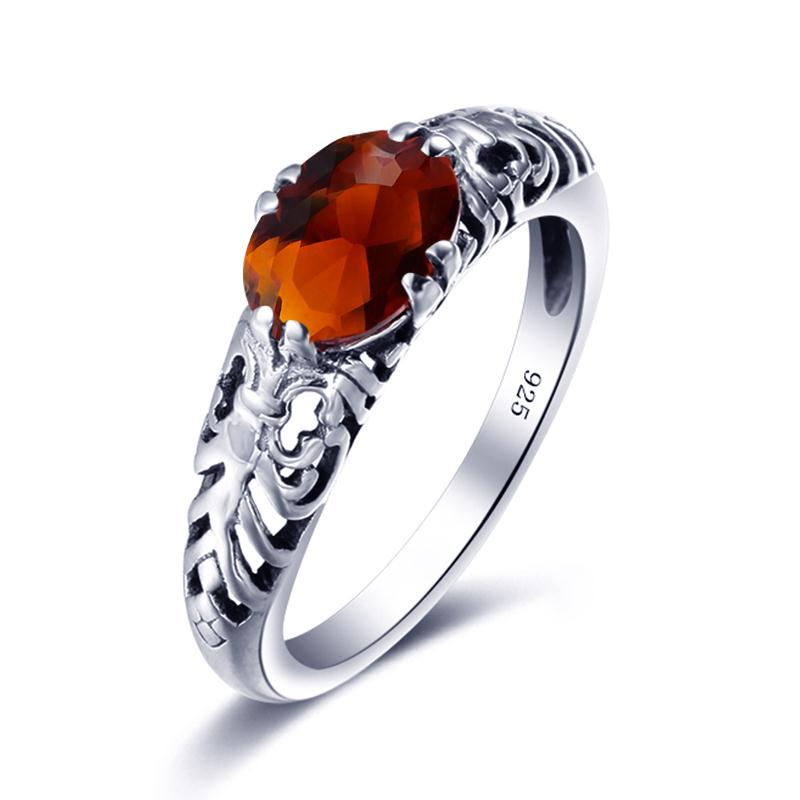 Antique Collection Brown Amber Gemstone Ring for Women