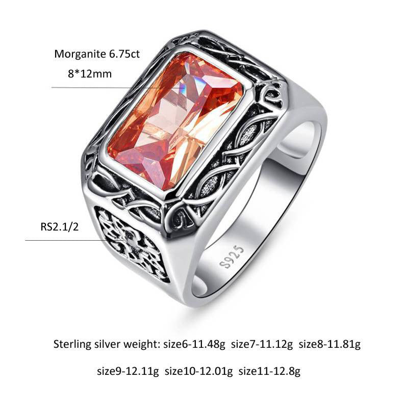 Antique Unisex 6.75 carat Morganite Gemstone Ring