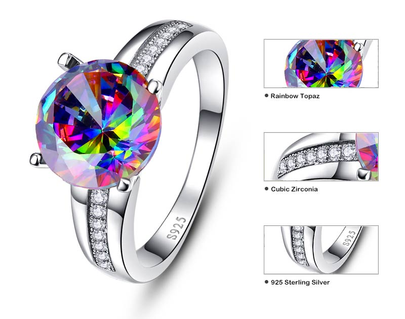Beautiful Round Cut Fire Mystic Topaz 6.3 ct Gemstone Ring for Women