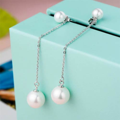 Beautiful Sterling Silver Long Stud White Pearl Earrings