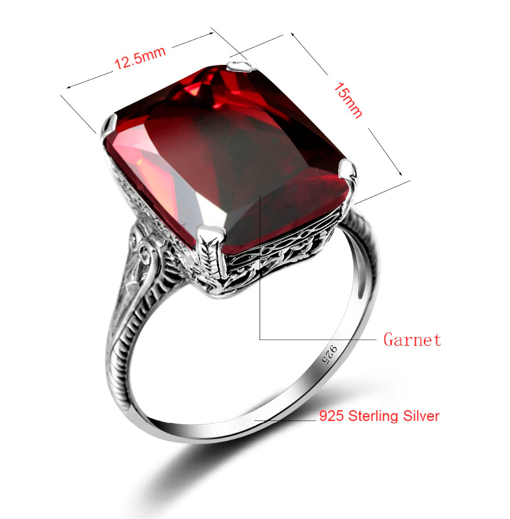 Beautiful Square Shape Vintage Red Garnet Gemstone Ring