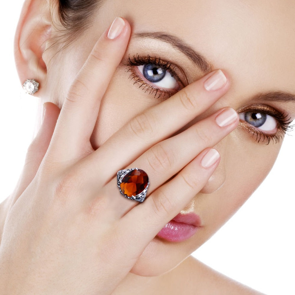Big Oval Vintage Ring with 12.6 carat Brown Amber Gemstone for Women