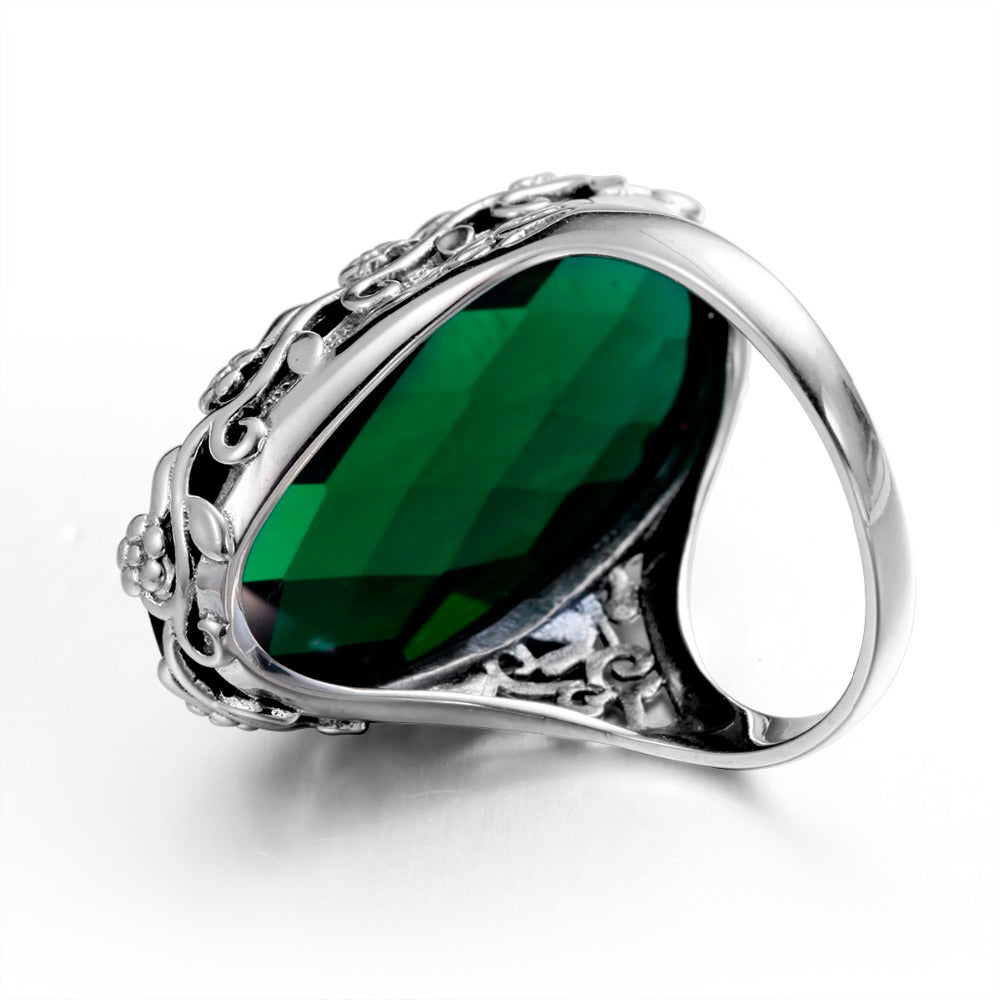 Big Vintage Oval Green Emerald Gemstone Ring for Women
