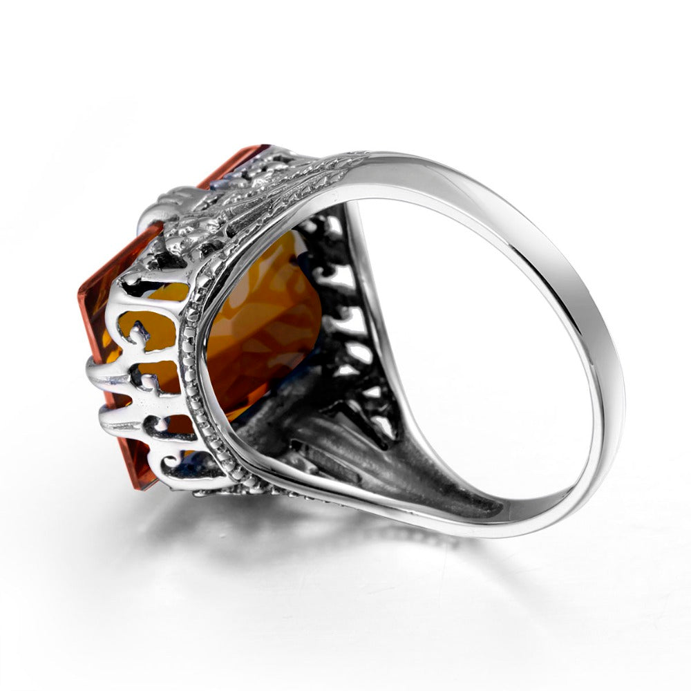 Bohemian Square Shaped Vintage Brown Amber Gemstone Ring for Women