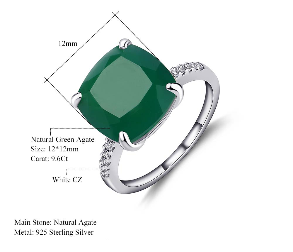 Classic Natural 9.66 carat Green Agate Gemstone Ring for Women