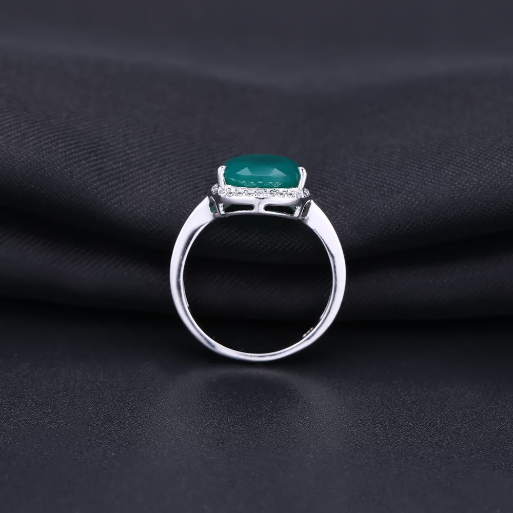 Classic Natural Green Agate Gemstone Water Drop Ring