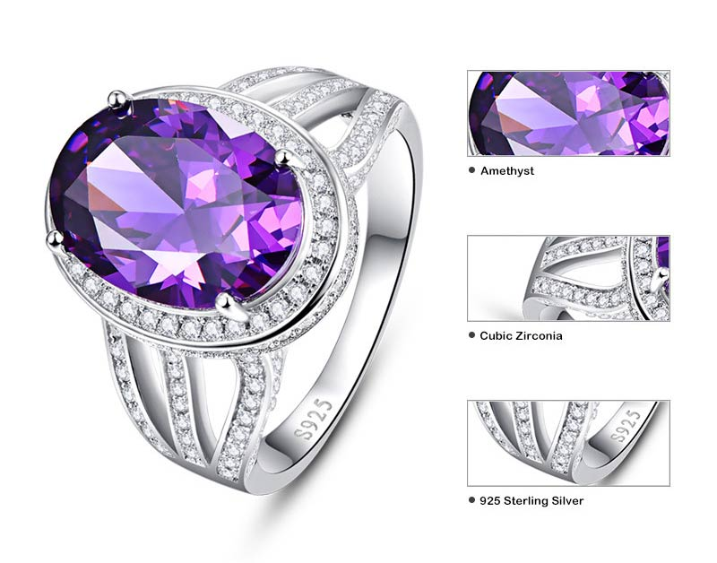 Cocktail Vintage Natural Round Amethyst Ring for Women 02