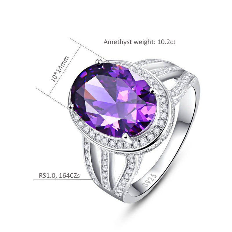 Cocktail Vintage Natural Round Amethyst Ring for Women