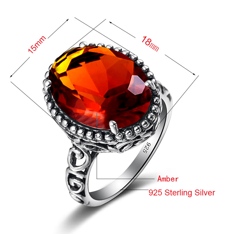 Coral Vintage Brown Amber Gemstone Ring for Women