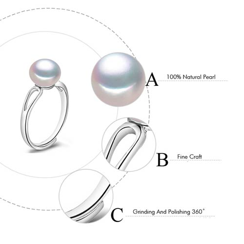 Cute Natural Freshwater Pearl Adjustable Ring