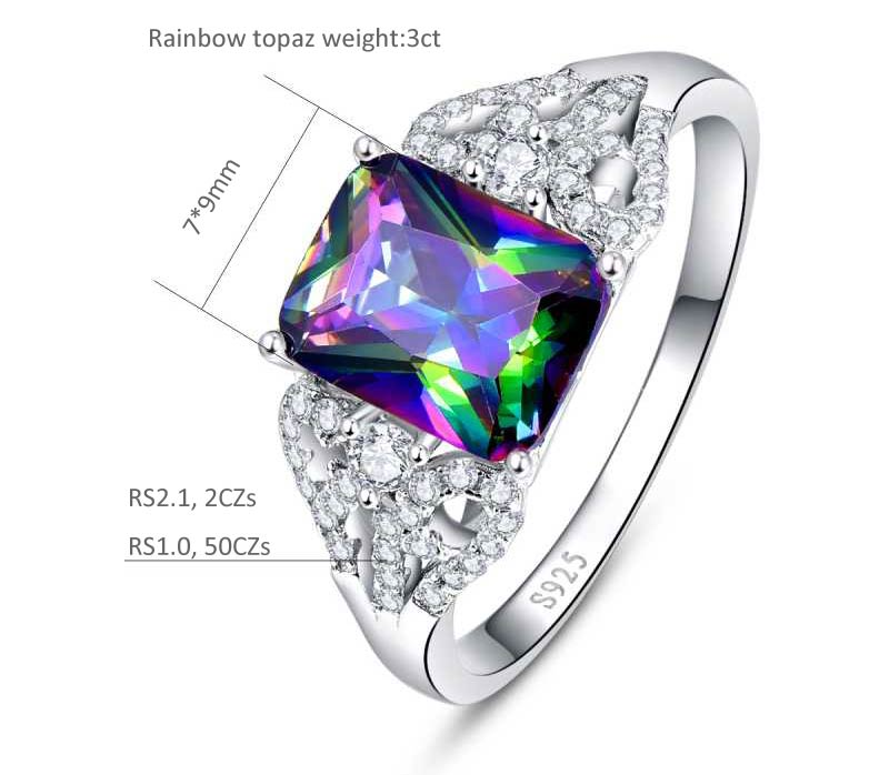 Emerald Cut 3 ct Natural Mystic Fire Rainbow Topaz Ring for Women