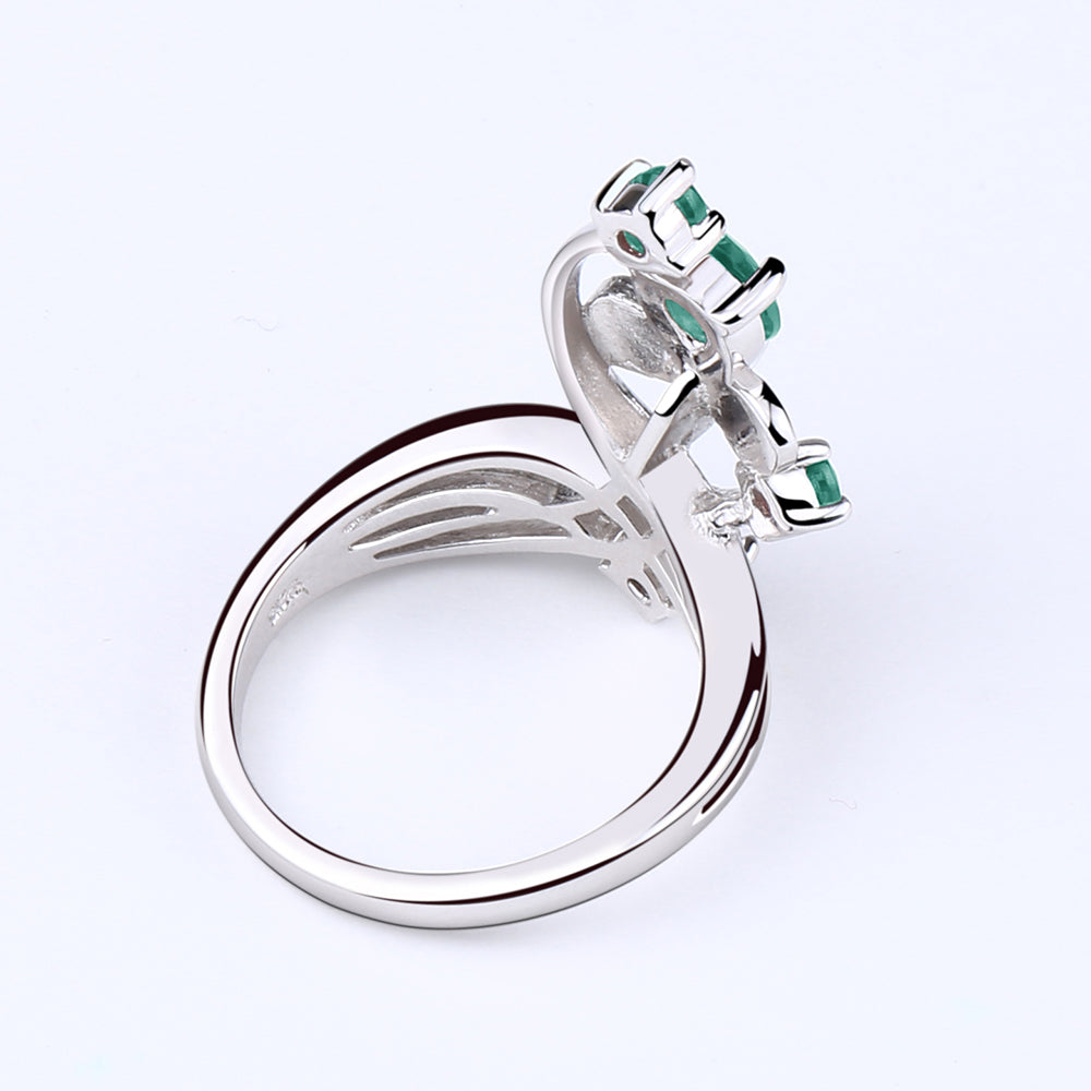 Flower Green Agate Gemstone Ring for Women