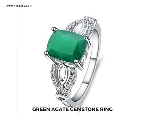 Green Agate Stone Ring