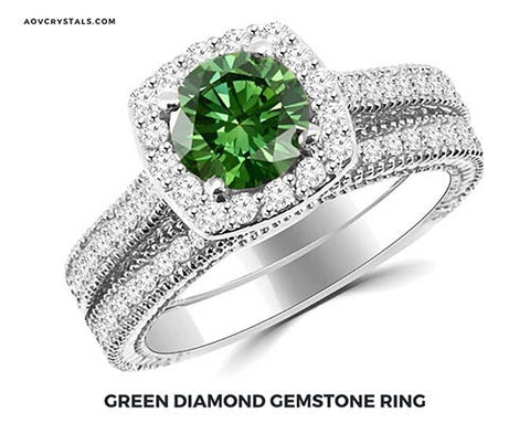 Green Diamond Crystal Ring