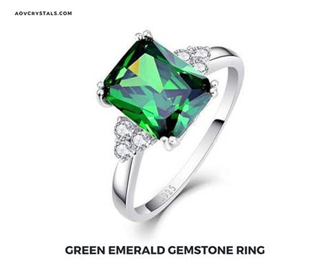 Green Emerald Crystal Ring