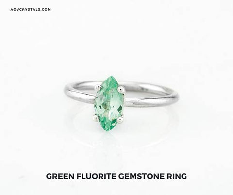 Green Fluorite Gemstone Ring