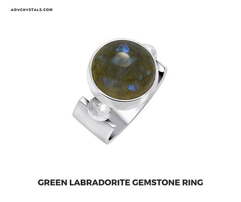 Green Labradorite Stone Ring