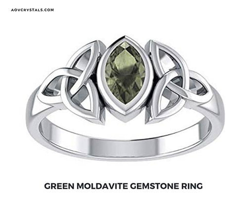 Green Moldavite Stone Ring