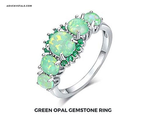 Green Opal Gemstone Ring