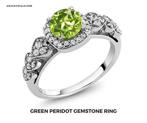 Green Peridot Crystal Ring