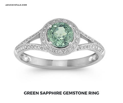 Green Sapphire Crystal Ring