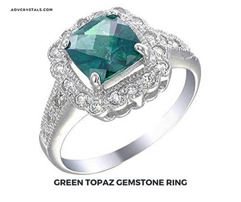 Green Topaz Gemstone Ring