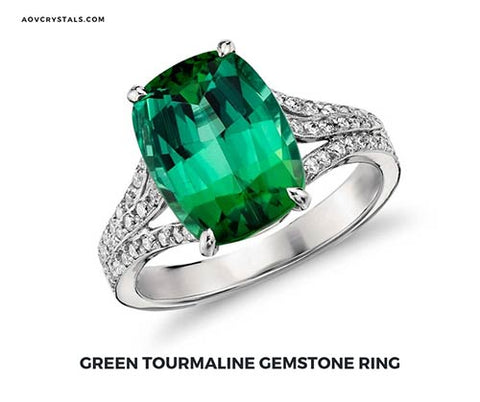 Green Tourmaline Crystal Ring
