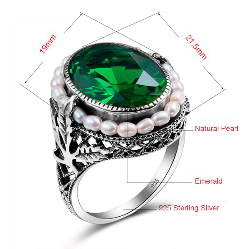 Handmade Vintage Green Emerald Ring with Natural Pearls