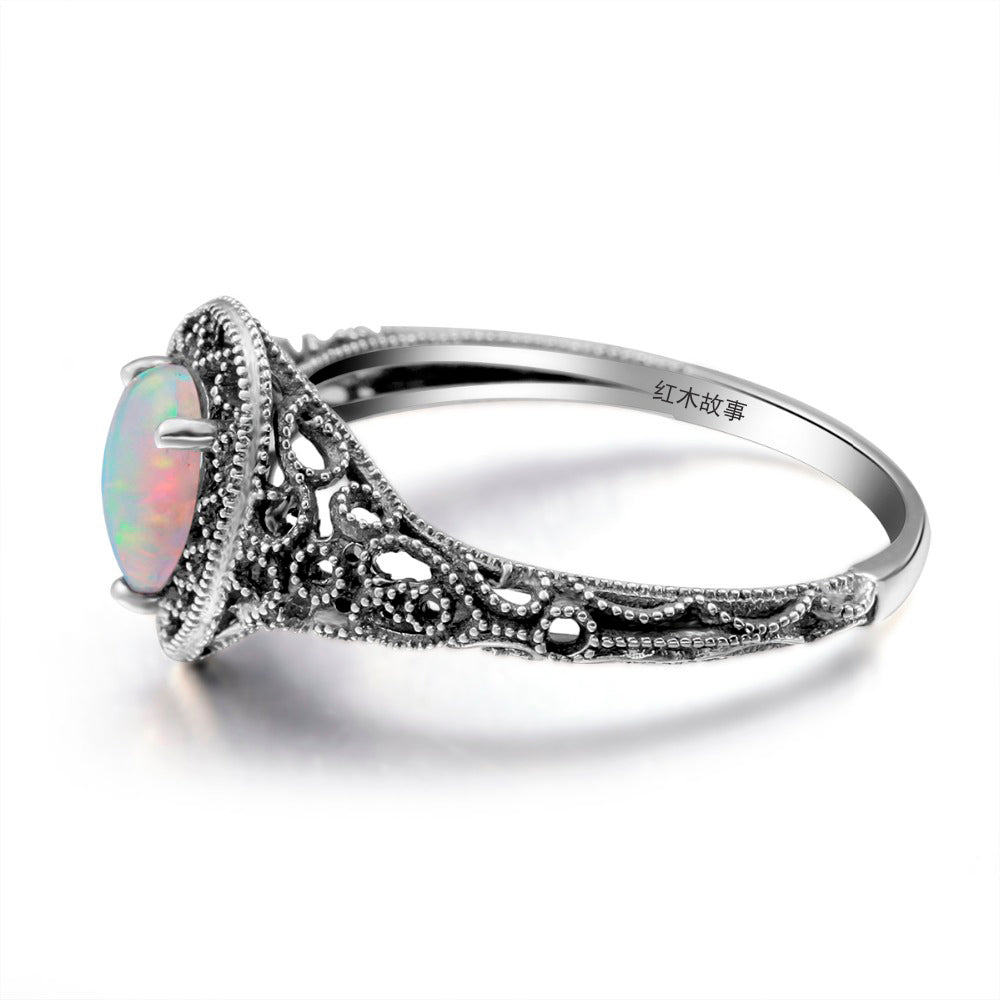 Handmade Water Drop White Fire Opal Gemstone Ring for Women