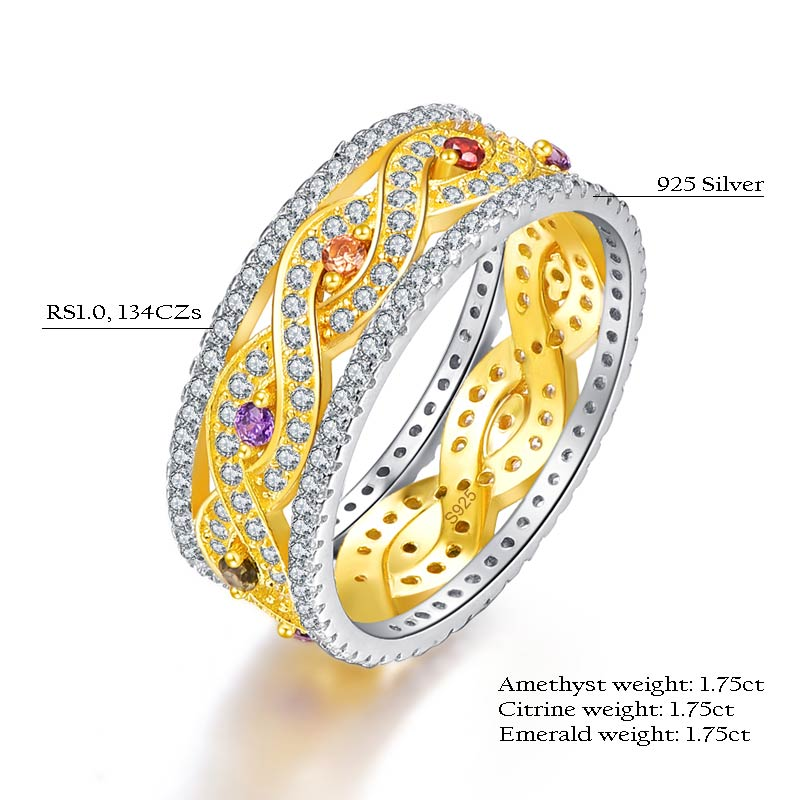 Infinity Love Collection Natural Amethyst, Citrine and Emerald Ring For Women
