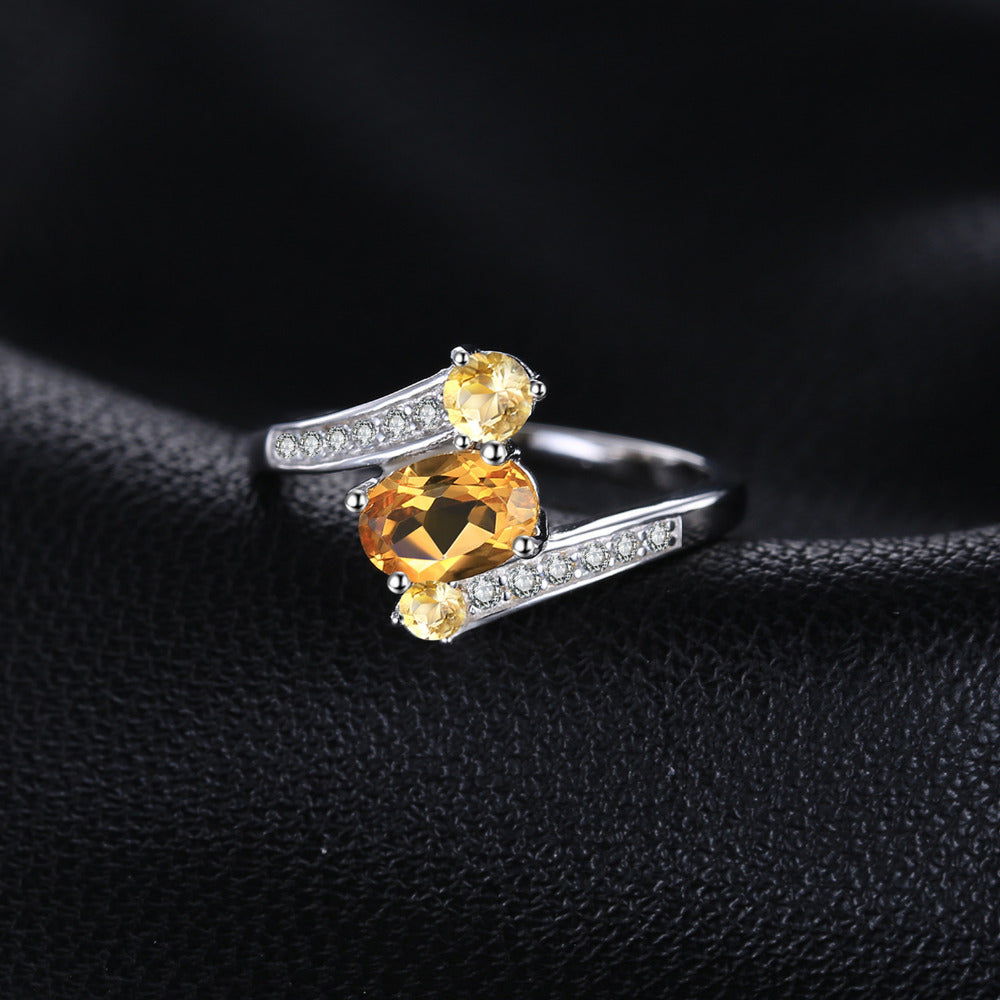 Interesting Ring with 3 Natural Yellow Citrine Gemstones and 12 Zircons