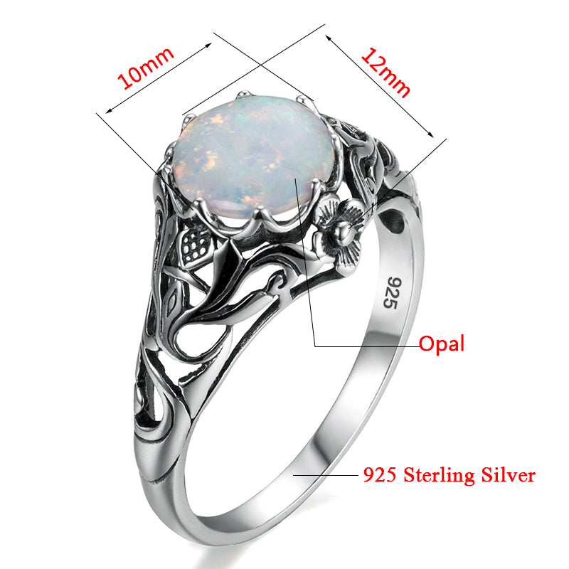 Lovely Handmade Vintage White Opal Gemstone Ring