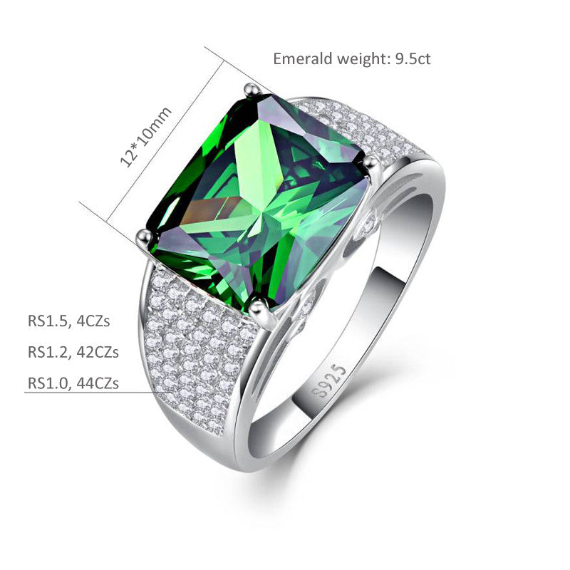 Luxurious Square Shape 7.5 carat Emerald Ring with 90 Zircons