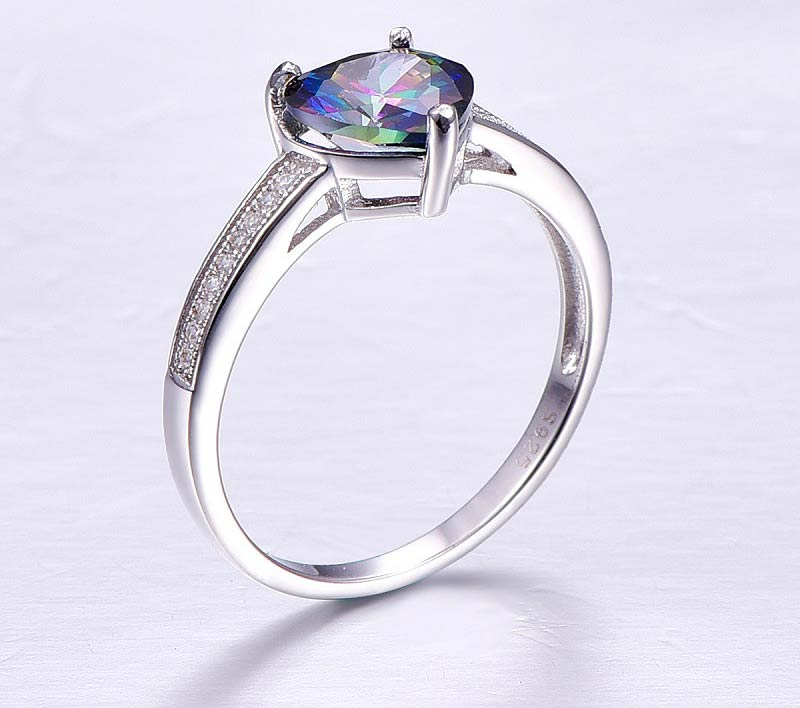 Luxury Heart Cut Classic Ring with Mystic Rainbow Topaz 3.2 ct Gemstone for Women