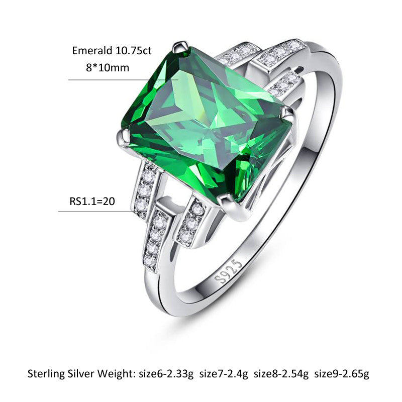 Luxury 10.75 carat Green Emerald Sterling Silver Ring for Women