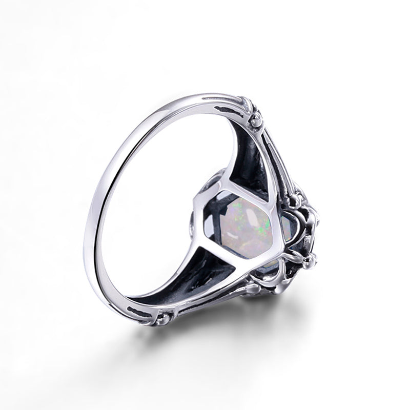 Luxury Handmade Oval Cut White Fire Opal Ring for Women