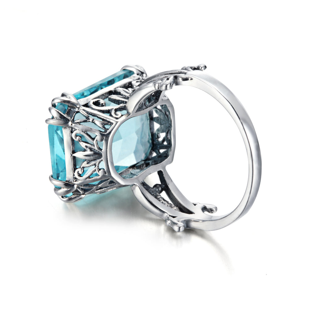 Luxury Square Shape Handmade Vintage Blue Aquamarine Gemstone Ring