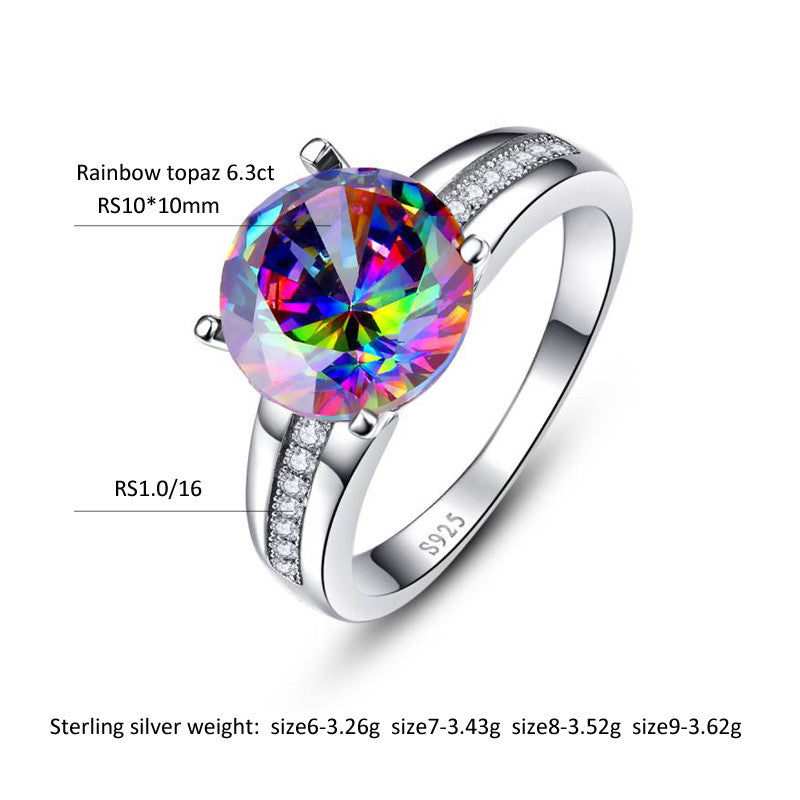 Modern Round Cut 5 ct Genuine Gemstone Rainbow Fire Mystic Topaz Ring for Women