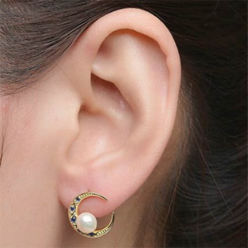 Moon Shape Gold Plated Natural Freshwater Pearl Stud Earrings