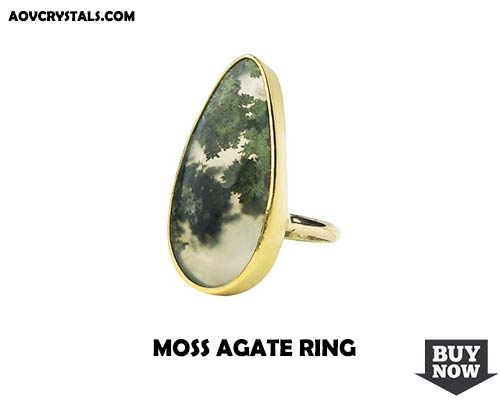 Moss Agate Crystal Ring